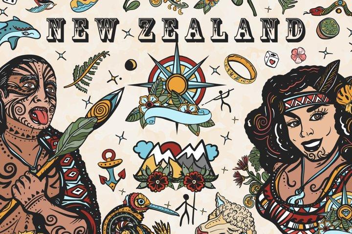 New Zealand old school tattoo