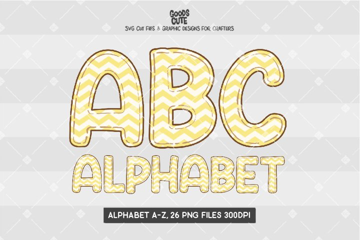 Yellow Pastel Zigzag Alphabet - Sublimation PNG