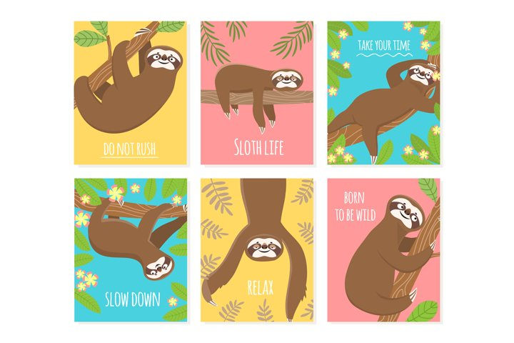 Sloth card. Cute slumber animal, sleepy lazy sloths. Child t
