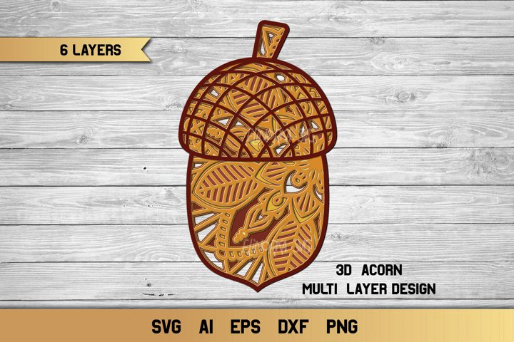 3D Layered Acorn SVG | Multi Layer svg| Fall Cut File