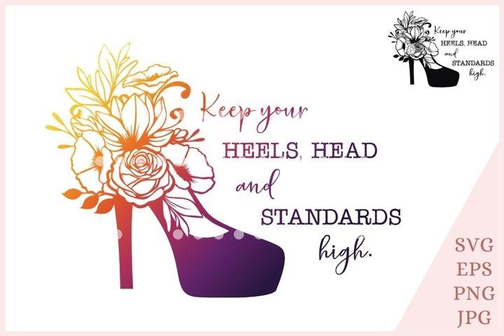 high heels svg, floral shoes svg, fashion svg shoe clipart