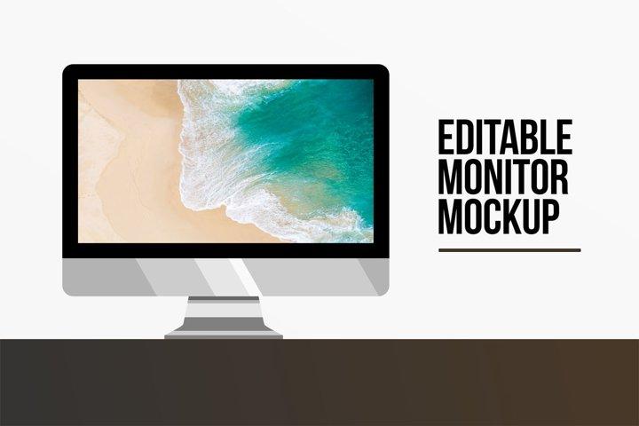 Editable Monitor Desktop Mockup Template