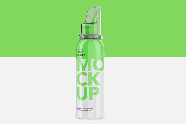 Nasal Spray Glossy Bottle - Mockup