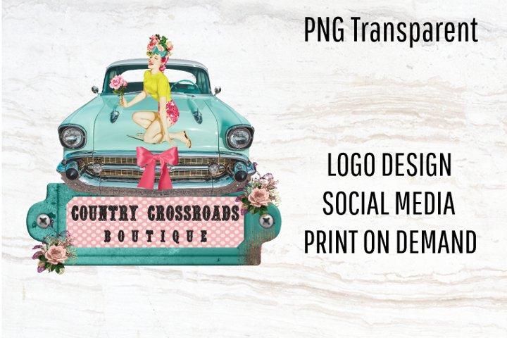 Vintage logo, logo template, retro logo, pinup girl, png