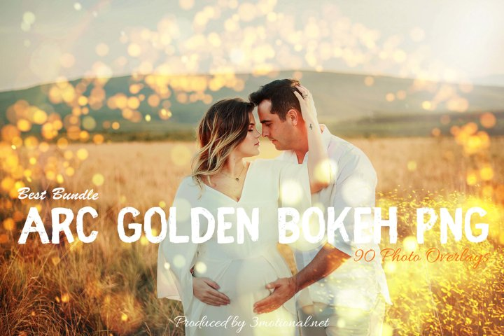 90 ARC Golden Bokeh PNG Effect Photo Overlays