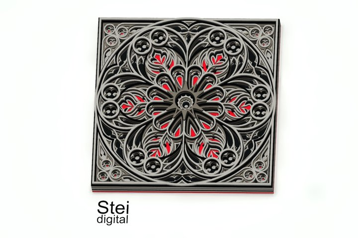 3d layered gothic mandala G2 Cricut SVG, DXF laser cut files