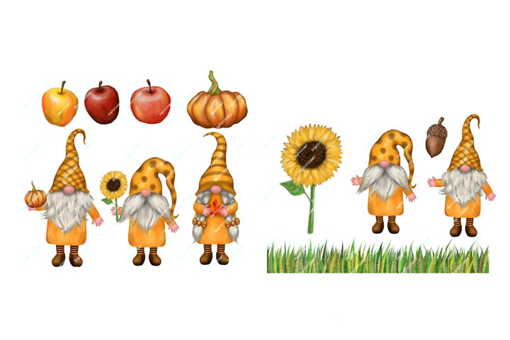 Fall Gnomes Clipart, Thanksgiving PNG, Autumn Gnome