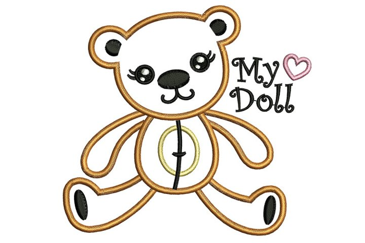 Bear doll machine embroidery designs