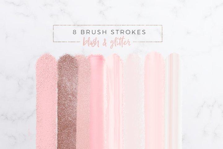 Blush & Glitter Brush Strokes