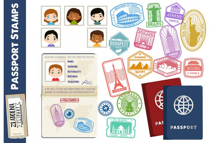 Landmark Stamps Clipart Travel stamps clipart Passport stamp