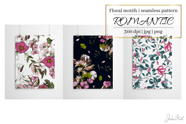 Romantic flowers - digital papers - floral seamless patterns