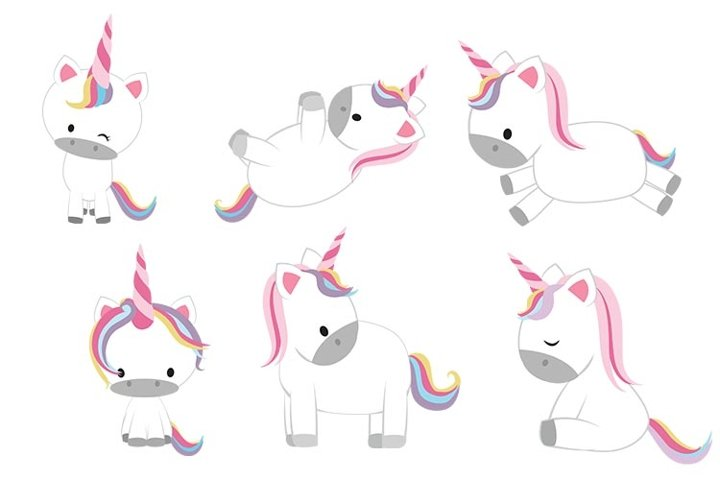 Cute Unicorn Clipart, Baby Unicorn