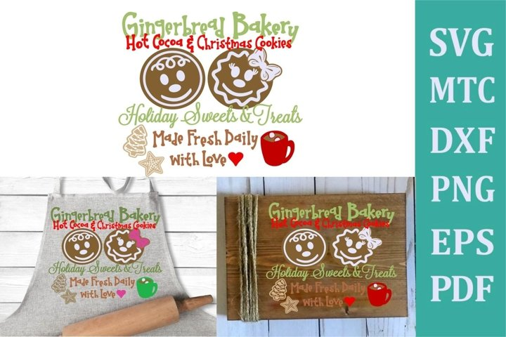 Gingerbread Bakery Christmas Sign #02 SVG Cut File