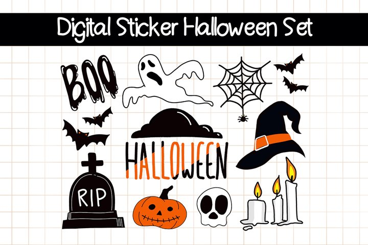 DIGITAL STICKERS Set for Halloween