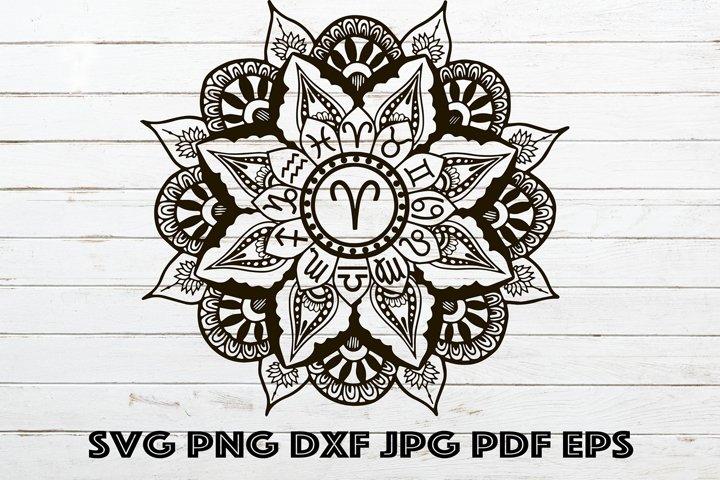 Mandala Aries SVG, Mandala Zodiac SVG, Zodiac for Cricut