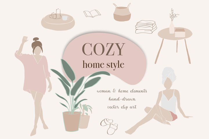 Cozy home clipart / Scene creator / Abstract woman/ Clip art