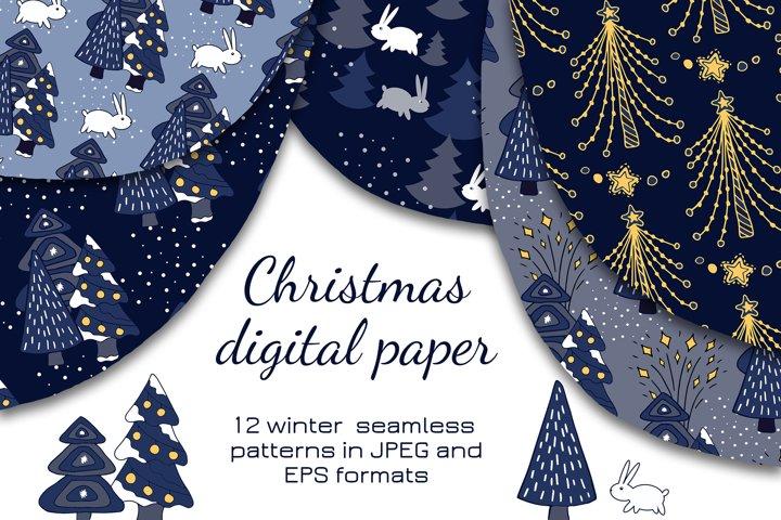 Christmas digital paper. Seamless patterns. New Year decor