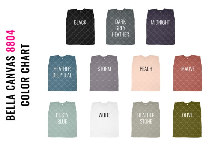 Bella Canvas 8804 Muscle Tank Top Mockup Color Chart