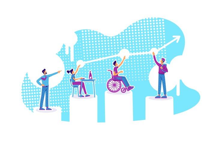 Inclusive education flat concept vector illustration