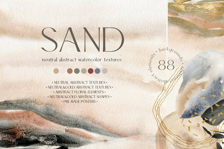 SAND. Neutral watercolor abstract textures