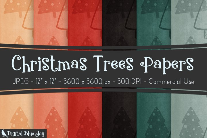 Digital Scrapbook Paper Backgrounds - Christmas Trees
