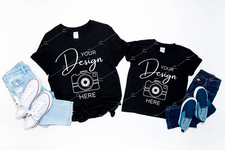 Gildan 64000 & 64500B Mockup Softstyle Black T-shirt Mock up