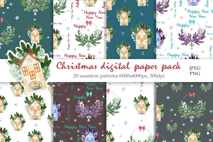 Watercolor Christmas patterns. Digital paper pack