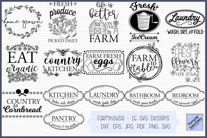Farmhouse SVG - SVG, Clipart, Printables - 16 Designs