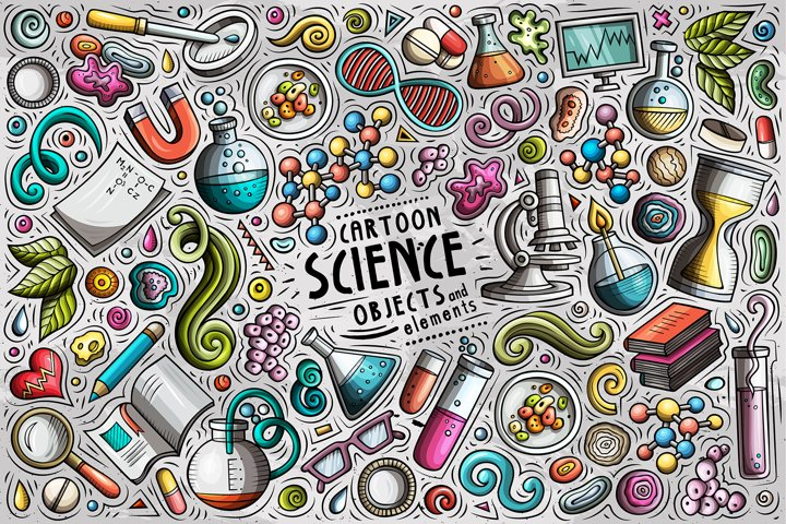Science Cartoon Objects Set