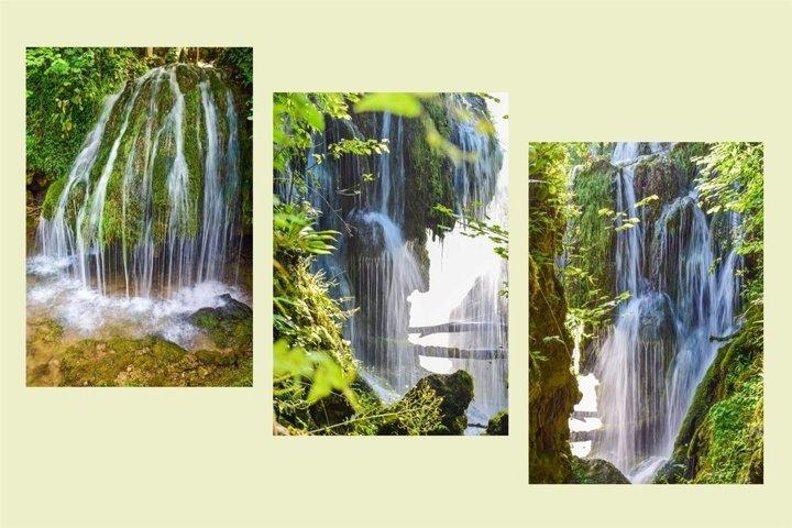 Spring waterfalls. Hidden paradise. Set of 3 photos.