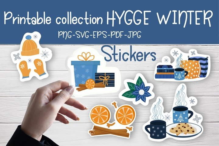 Printable Sticker collection Hygge Winter PNG, SVG, PDF example