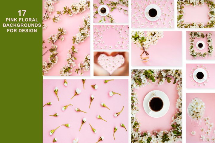 17 pink floral backgrounds for design