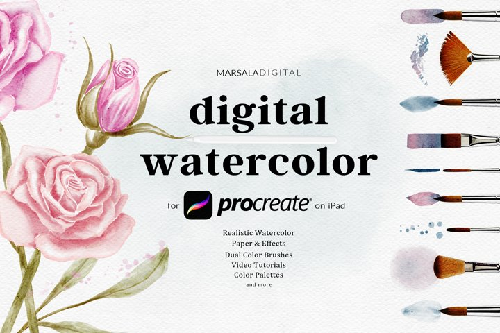 Procreate Watercolor Brushes Kit, Realistic Watercolor