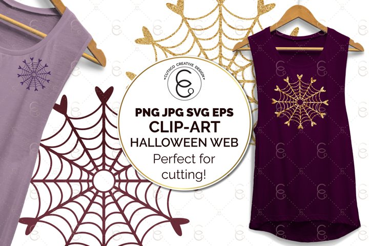 Halloween Heart Cobweb Clip Art SVG PNG JPG EPS cut file