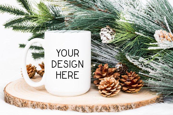 15 Oz Blank White Coffee Cup Mug Winter Christmas Mockup