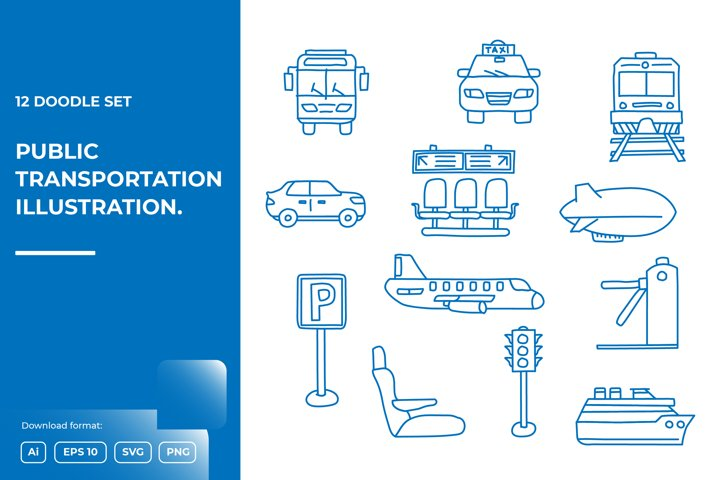 12 Transportation doodle illustrations icon set
