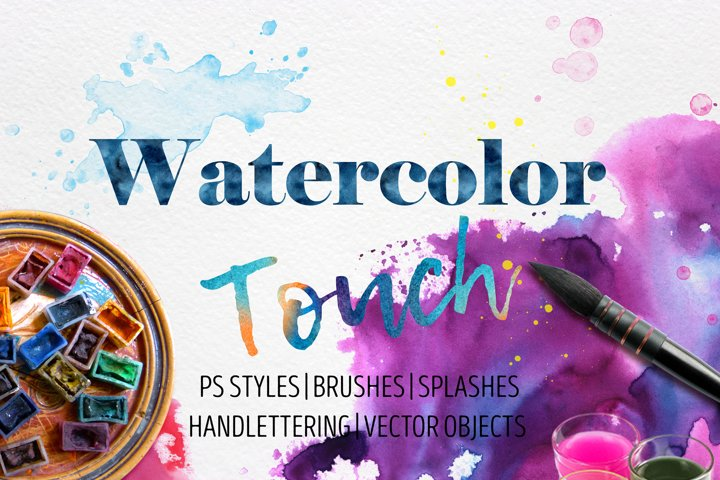 Watercolor Touch Photoshop Styles/Brushes/Splashes/Objects