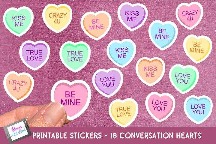 Valentines Day Stickers - 18 Valentine Conversation Hearts