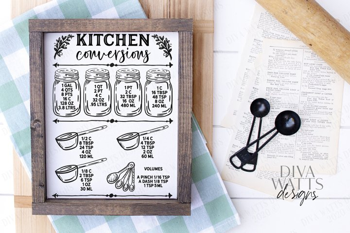 Kitchen Conversions Chart - Cutting File - Printable - SVG