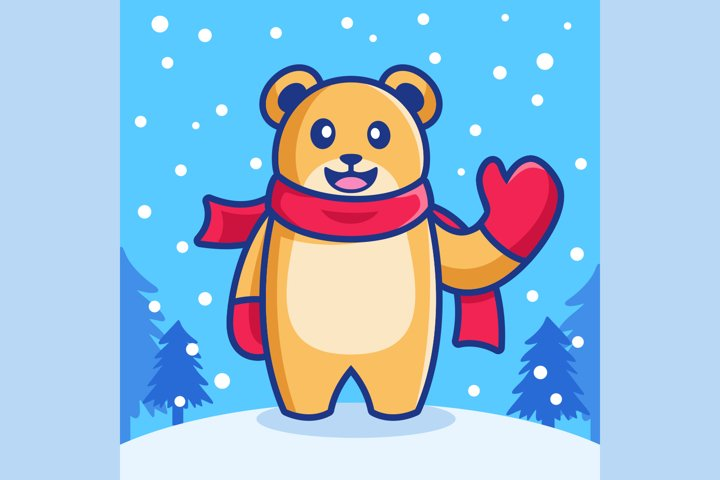 cute waving bear in snowfall winter season