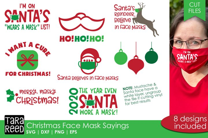 Christmas Face Mask Sayings - SVG and Cut Files