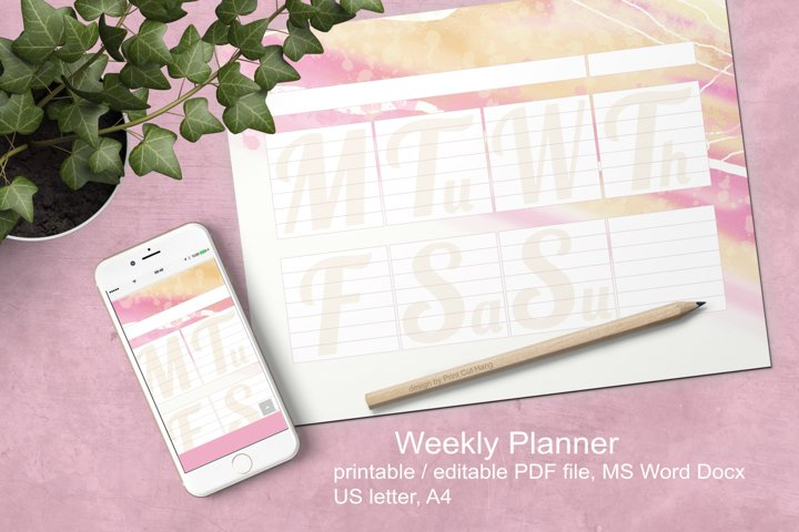 Weekly Planner Pink Watercolor Printable Editable PDF Word