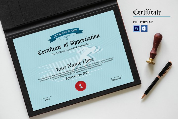 Certificate of Appreciation, Ms Word and Photoshop template