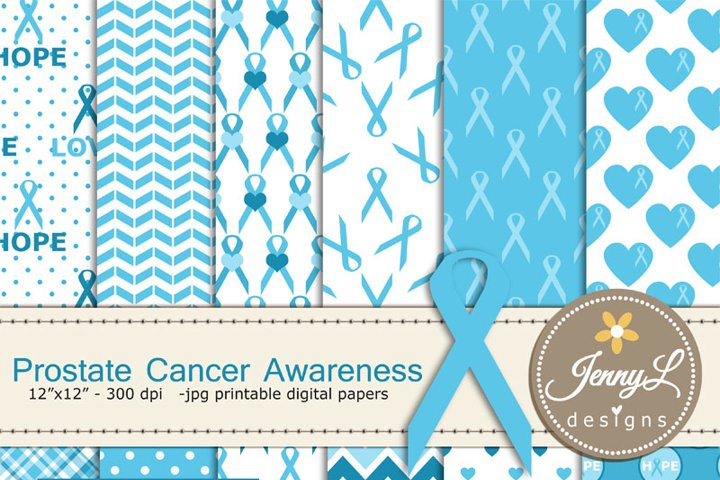 Prostate Cancer Awareness Digital Papers and Clipart, Blue Ribbon Awareness