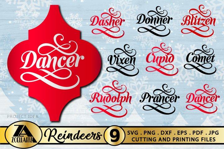 Arabesque Christmas Ornament SVG Bundle-Reindeer Names SVG