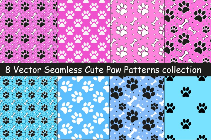 Seamless set of vector paw pattern