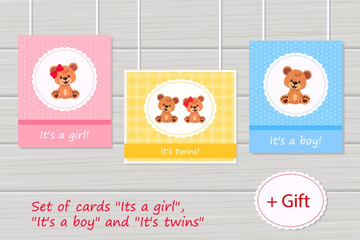 Greeting cards. Set of 3 cards decorated cute teddy bear