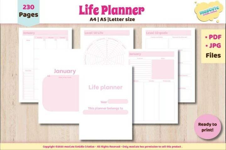 Planner Monthly weekly Printable Pages letter A5 A4