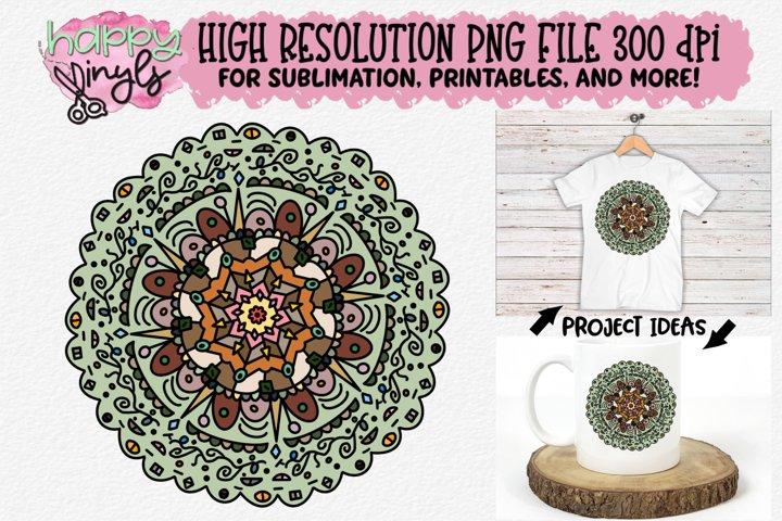 Mandala Lt Green Sublimation Design - A High Res PNG