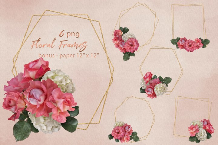 Pink roses frames clipart. Geometric polygonal frames.